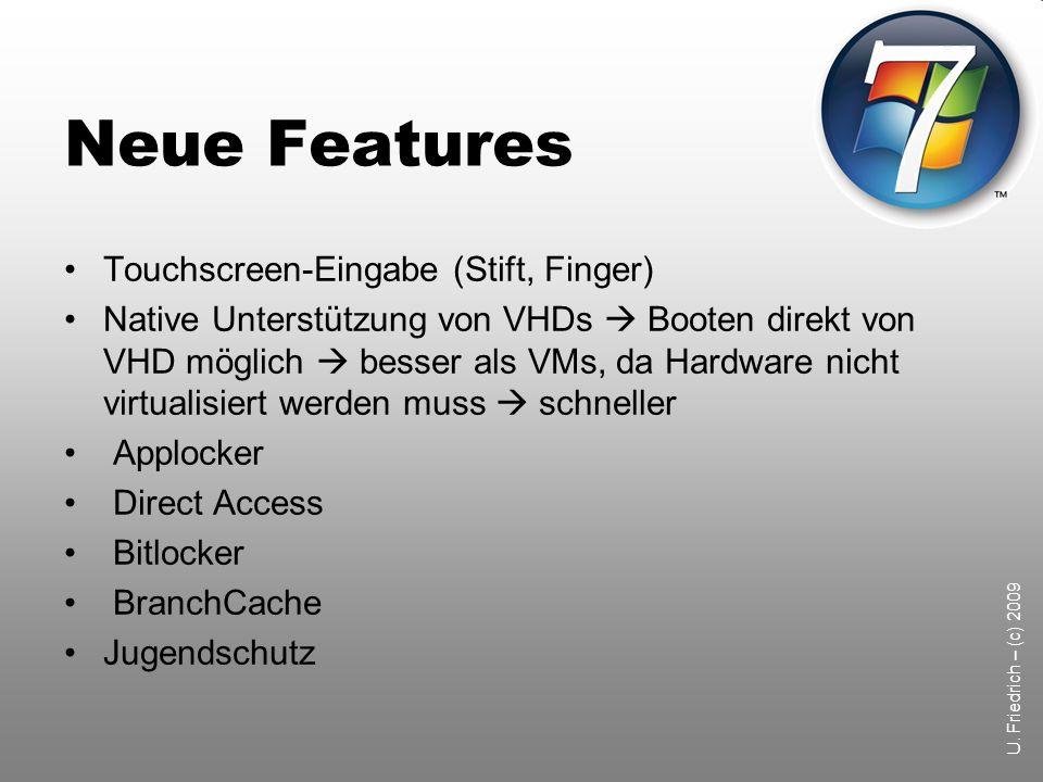 U. Friedrich – (c) 2009 Profile unter Windows 7