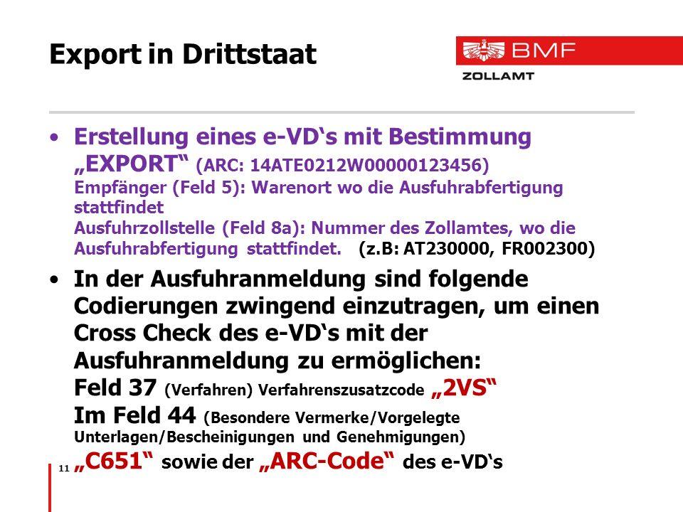 Export in Drittstaat Erstellung eines e-VDs mit Bestimmung EXPORT (ARC: 14ATE0212W00000123456) Empfänger (Feld 5): Warenort wo die Ausfuhrabfertigung