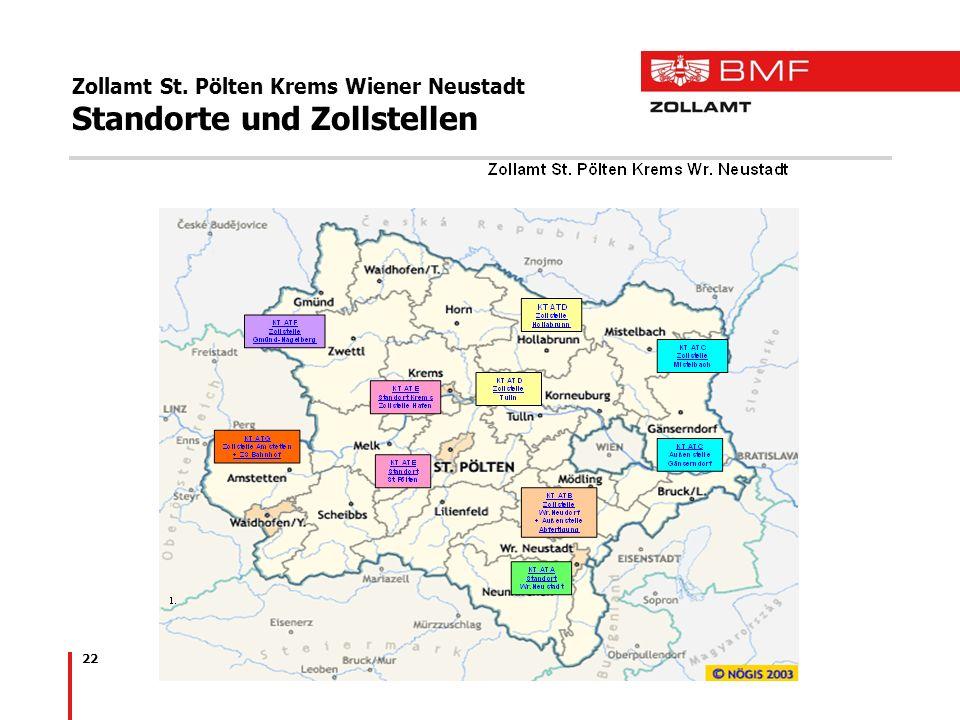 22 Zollamt St. Pölten Krems Wiener Neustadt Standorte und Zollstellen