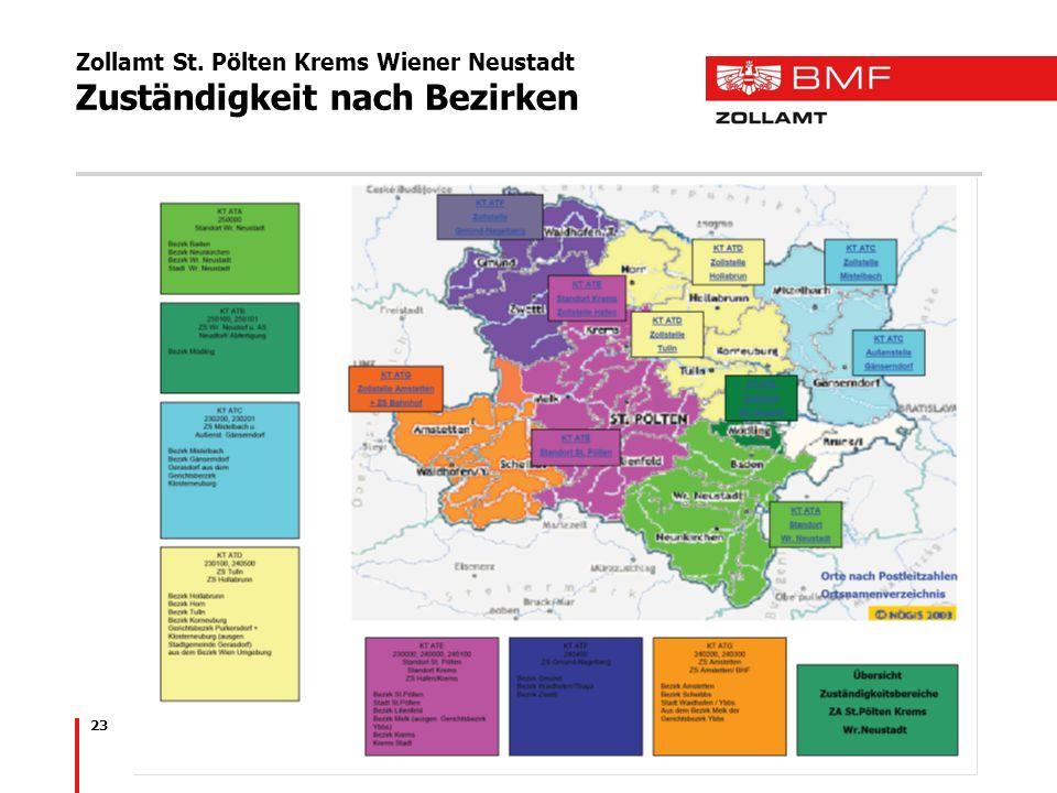 Zollamt St. Pölten Krems Wiener Neustadt Zuständigkeit nach Bezirken 23