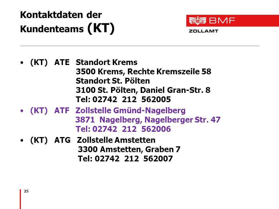 Kontaktdaten der Kundenteams (KT) (KT) ATE Standort Krems 3500 Krems, Rechte Kremszeile 58 Standort St. Pölten 3100 St. Pölten, Daniel Gran-Str. 8 Tel
