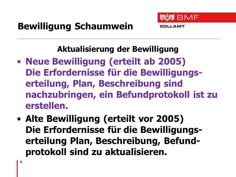 6 Bewilligung Schaumwein Aktualisierung der Bewilligung Neue Bewilligung (erteilt ab 2005) Die Erfordernisse für die Bewilligungs- erteilung, Plan, Be