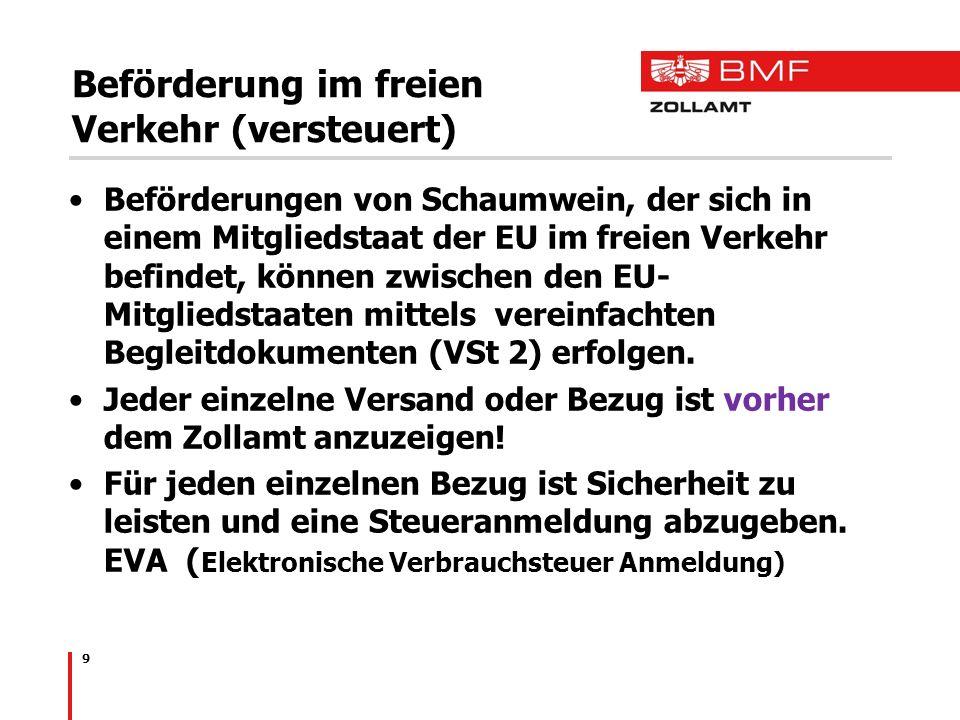 9 Beförderung im freien Verkehr (versteuert) Beförderungen von Schaumwein, der sich in einem Mitgliedstaat der EU im freien Verkehr befindet, können z
