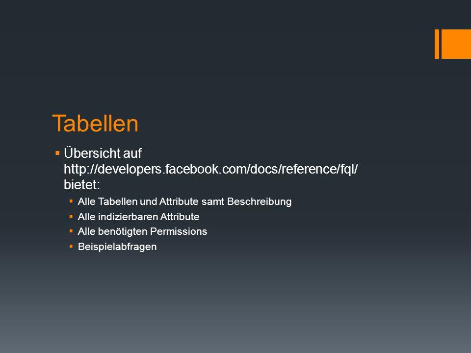 Tabellen Übersicht auf http://developers.facebook.com/docs/reference/fql/ bietet: Alle Tabellen und Attribute samt Beschreibung Alle indizierbaren Att