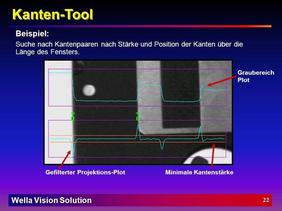 Wella Vision Solution 21 Wendepunkte deuten auf mögliche Kanten. Schnelle Kontraständerungen resultieren in hohen Scheitelpunkten. Kanten-Tool Kanten-