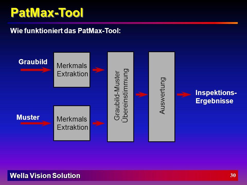 Wella Vision Solution 29 Wie funktioniert das PatMax-Tool: Unabhängig vom Pixelraster, da geometrisch PatMax Model wird aus Bildmerkmalen generiert Pa