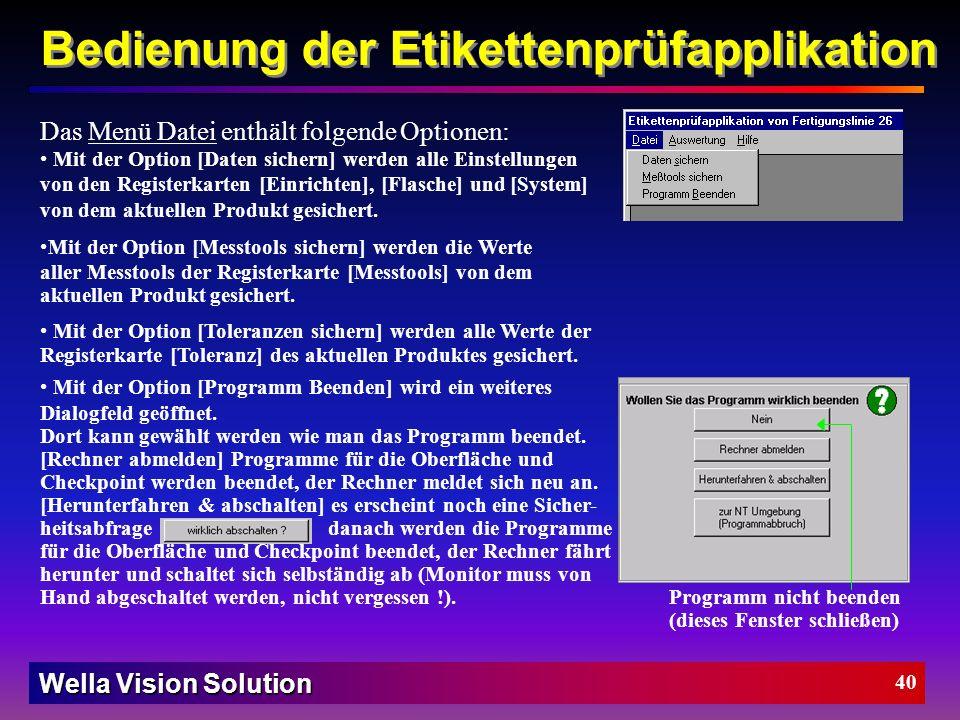 Wella Vision Solution 39 Symbole: Akquisition-Tool Tool Gruppe Koordinaten-System