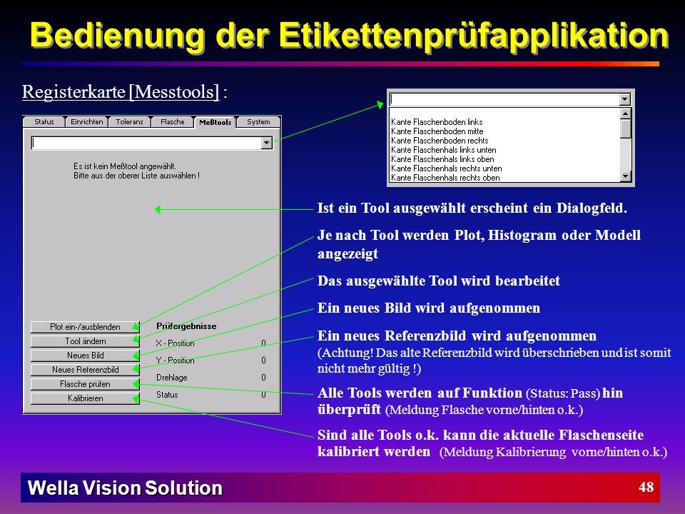 Wella Vision Solution 47 Bedienung der Etikettenprüfapplikation Position Merkmal hinten dy+ dx- Tol #1 dx+ rot- rot+ dy- Registerkarte [Toleranz] : Po