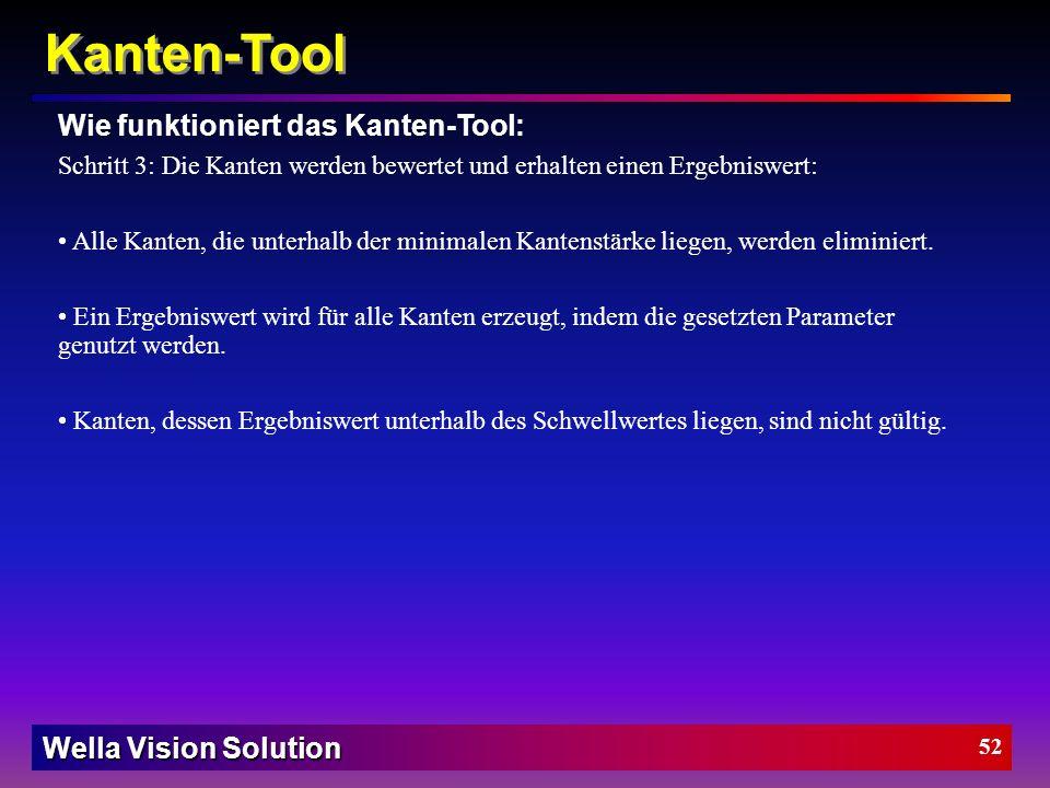 Wella Vision Solution 51 Kanten-Tool Kanten Filtergröße = 1 mehrfache Scheitel wegen Rauschen. Kanten Filtergröße = 4 Rauschen geglättet Zwei übrig ge