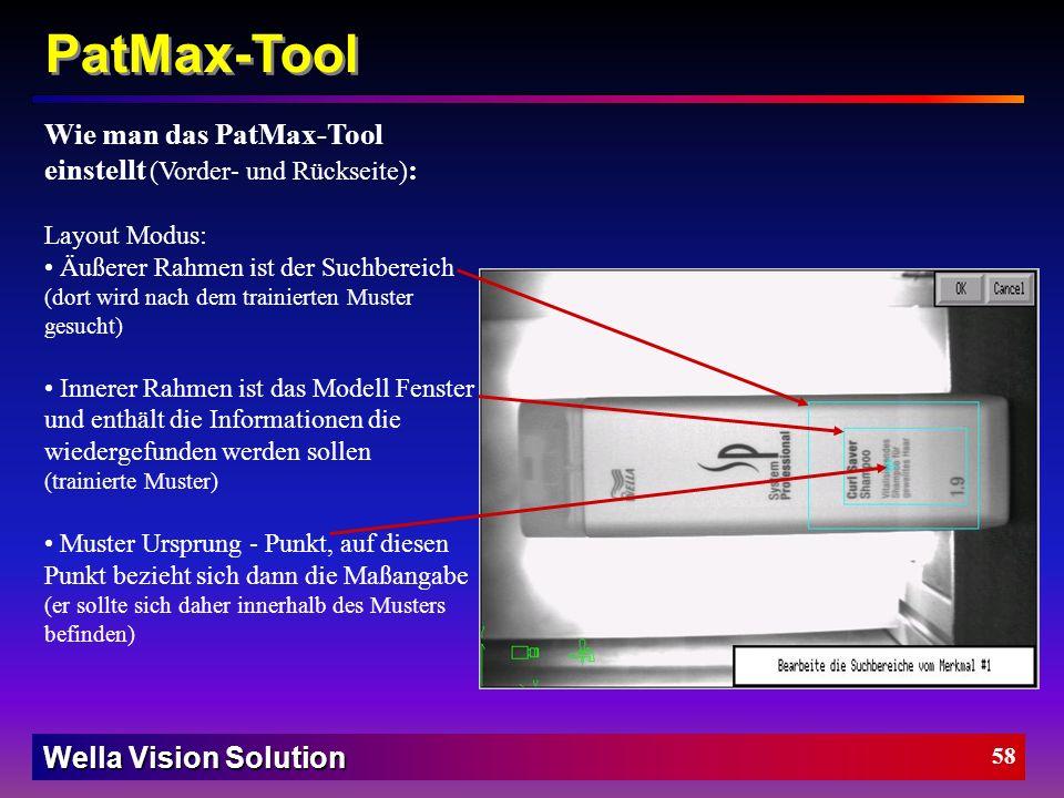 Wella Vision Solution 57 PatMax-Tool Die PatMax-Tool Parameter (Vorder- und Rückseite) : Akzeptierter Schwellwert Elastizität Rotation +/- (Verdrehung