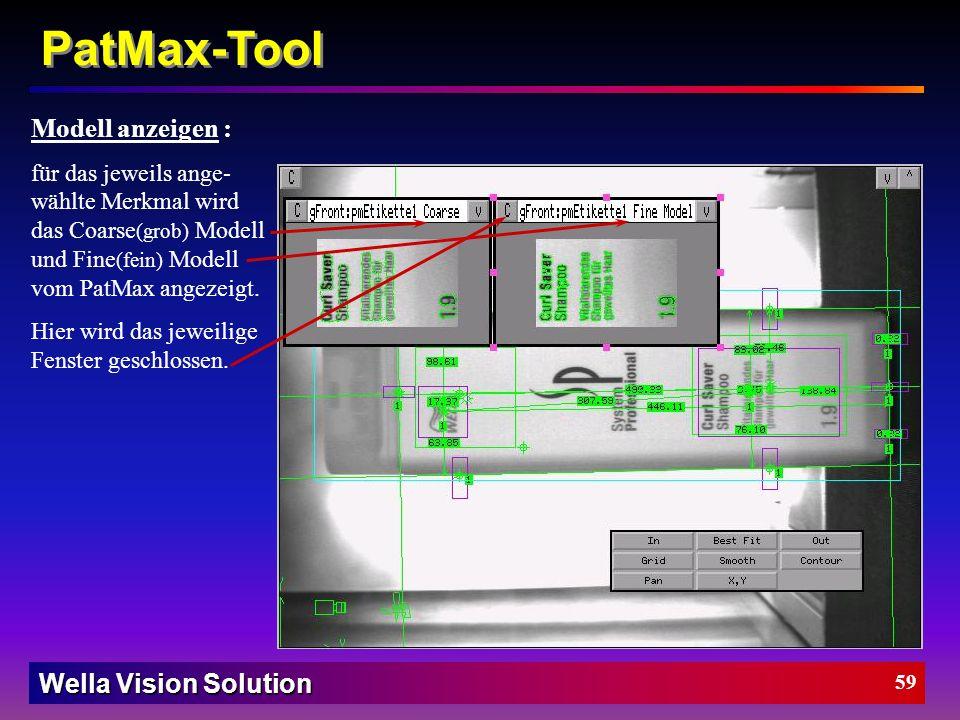 Wella Vision Solution Wie man das PatMax-Tool einstellt (Vorder- und Rückseite) : Layout Modus: Äußerer Rahmen ist der Suchbereich (dort wird nach dem