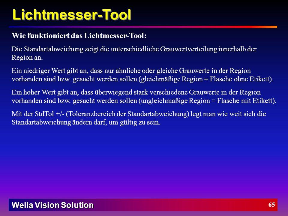Wella Vision Solution 64 Schwellwert fällt ins Rauschen PatMax-Tool Effekt des akzeptierter Schwellwert: Akzeptierter Schwellwert * 1000