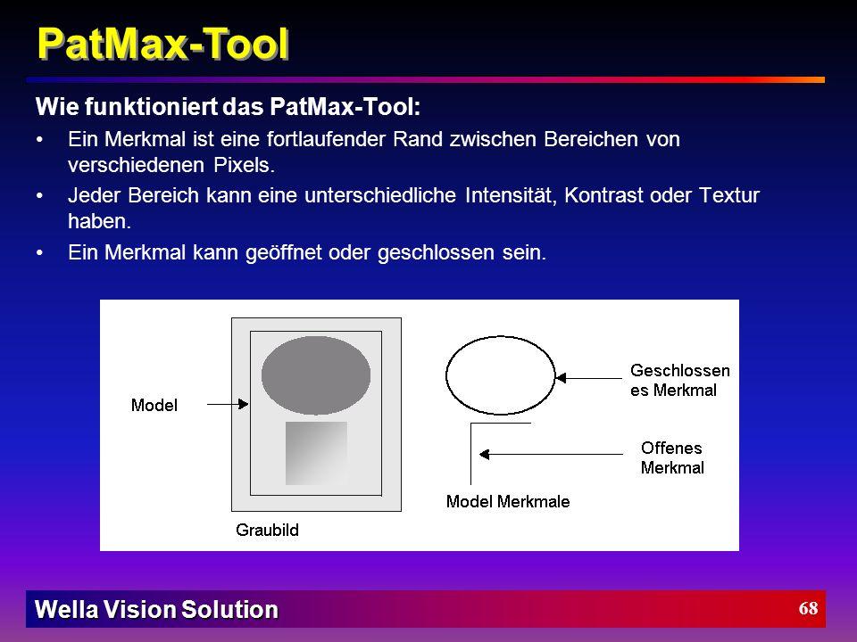 Wella Vision Solution 67 Region + Lichtmesser Etikett PatMax Suchmodell PatMax Suchfenster PatMax Applikationspunkt Etikett(en) prüfen/finden: Region