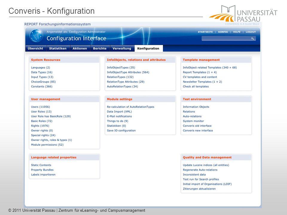 © 2011 Universität Passau | Zentrum für eLearning- und Campusmanagement Converis - Konfiguration