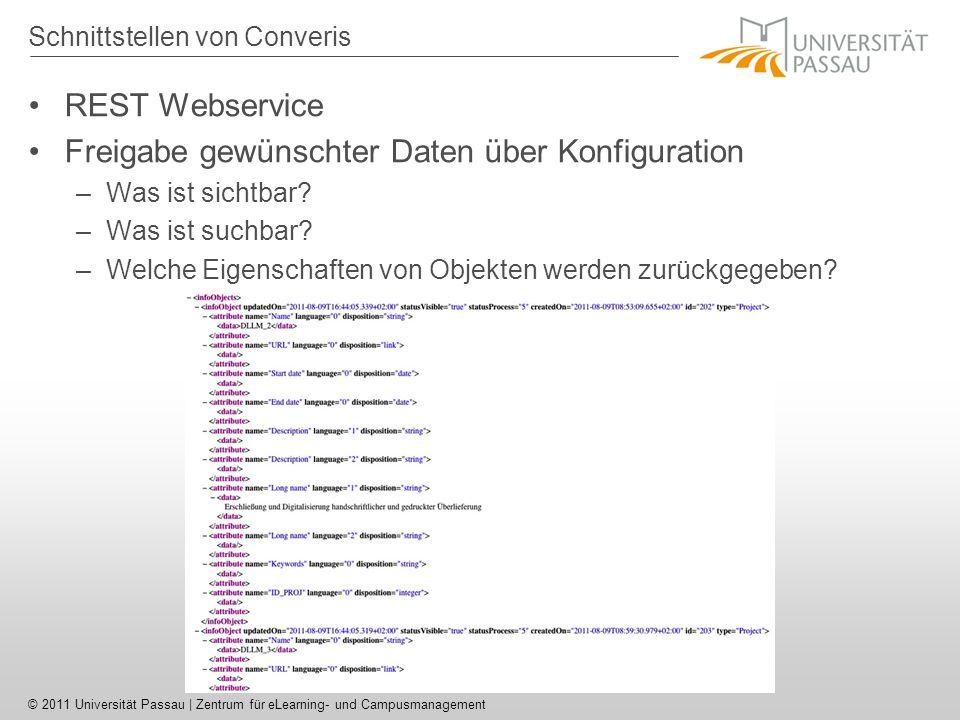© 2011 Universität Passau | Zentrum für eLearning- und Campusmanagement Schnittstellen von Converis REST Webservice Freigabe gewünschter Daten über Konfiguration –Was ist sichtbar.