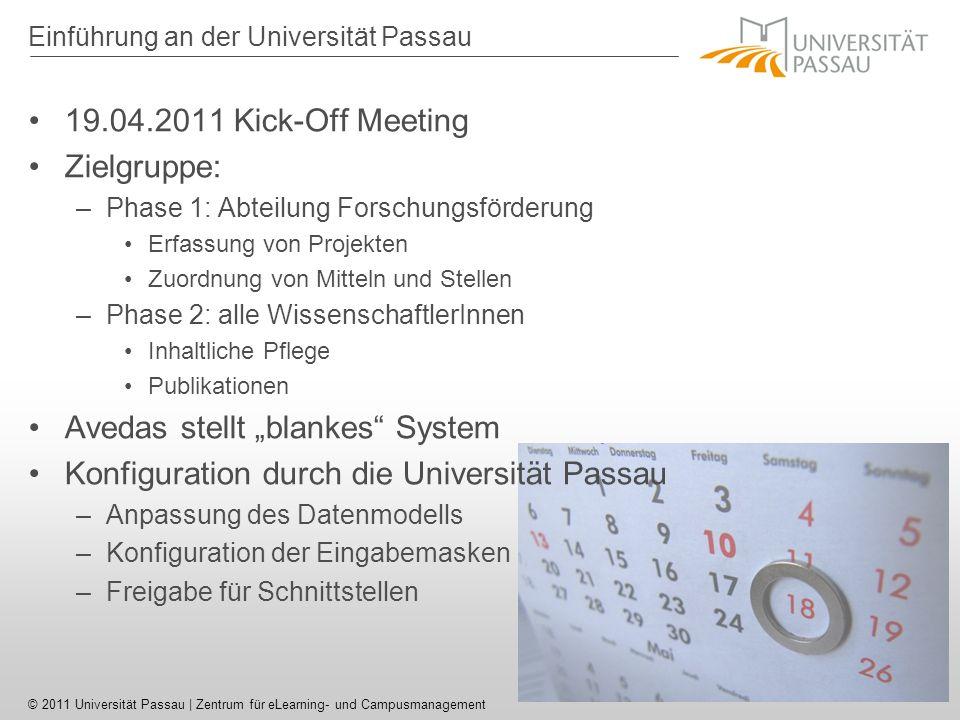 © 2011 Universität Passau | Zentrum für eLearning- und Campusmanagement Converis - Startscreen