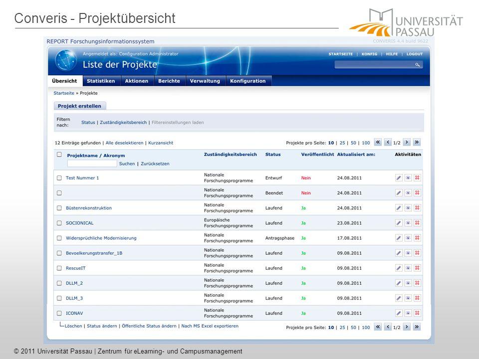 © 2011 Universität Passau | Zentrum für eLearning- und Campusmanagement Einbindung in Stud.IP Webservice-Aufruf über SimpleXML Problem in Passau: Identifizierung einer Person über Benutzername, Attribut aber nicht direkt aufrufbar in Converis Mehrstufiges Vorgehen –Suche nach einer Person über LDAP-Benutzername Converis-ID –Finden zugehöriger Visitenkarten einer Person –Finden der Projekte und Publikationen über die Visitenkarten