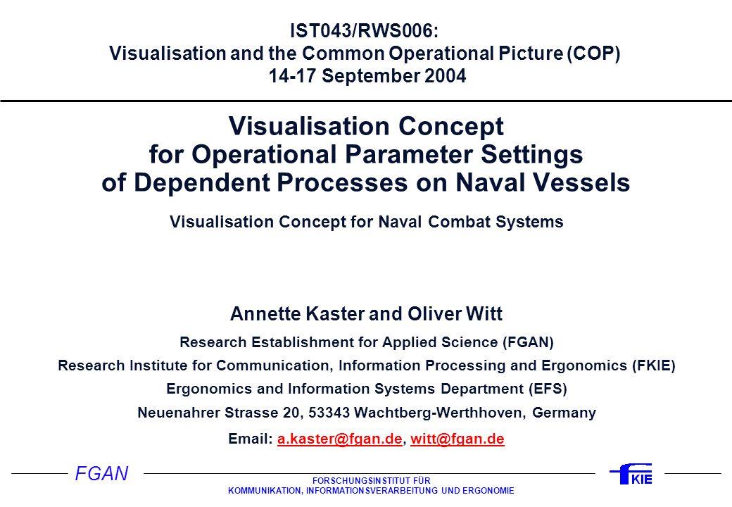 FGAN FORSCHUNGSINSTITUT FÜR KOMMUNIKATION, INFORMATIONSVERARBEITUNG UND ERGONOMIE IST043/RWS006: Visualisation and the Common Operational Picture (COP