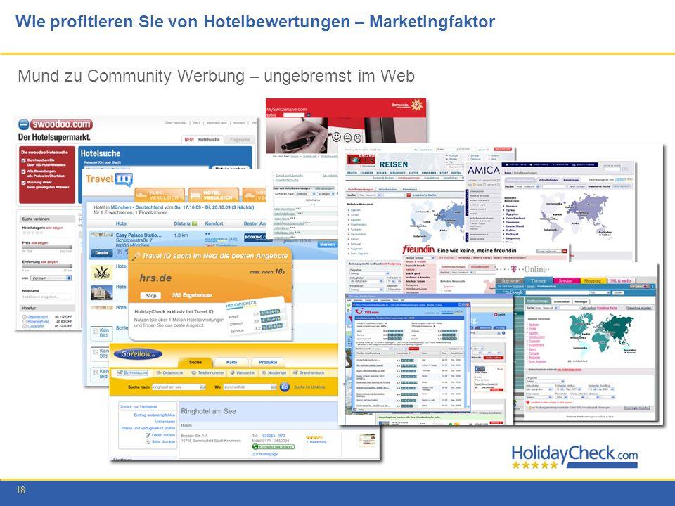 18 Wie profitieren Sie von Hotelbewertungen – Marketingfaktor Mund zu Community Werbung – ungebremst im Web