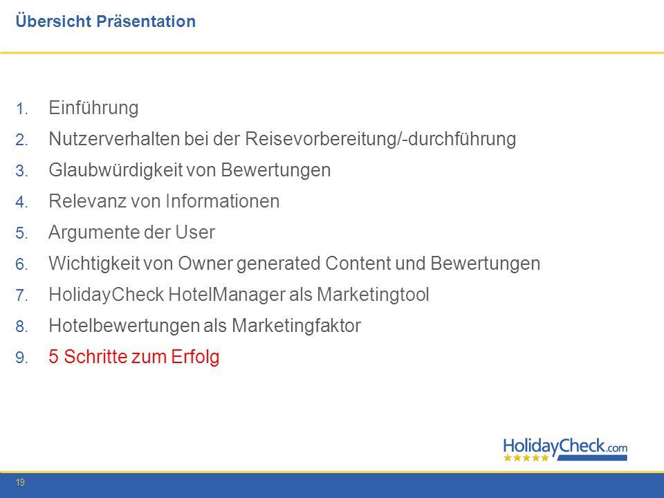 19 Übersicht Präsentation 1. Einführung 2. Nutzerverhalten bei der Reisevorbereitung/-durchführung 3. Glaubwürdigkeit von Bewertungen 4. Relevanz von
