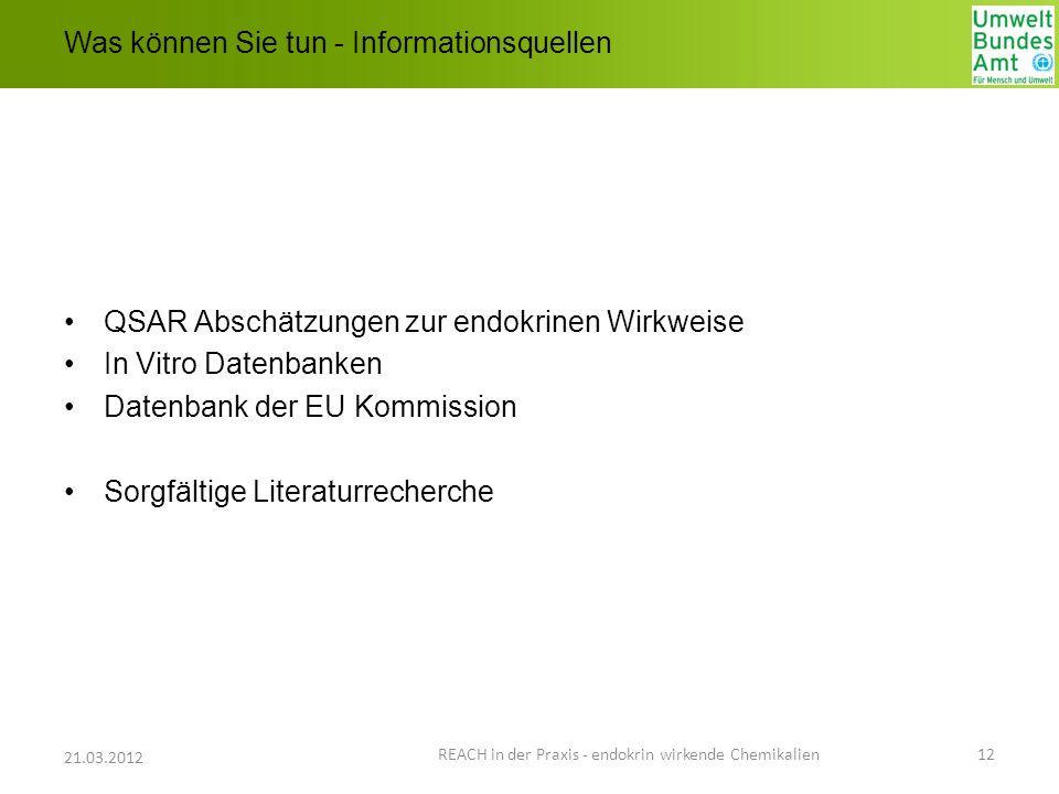 Was können Sie tun - Informationsquellen QSAR Abschätzungen zur endokrinen Wirkweise In Vitro Datenbanken Datenbank der EU Kommission Sorgfältige Lite