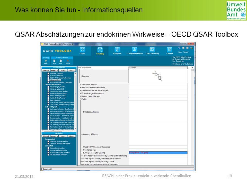 Was können Sie tun - Informationsquellen QSAR Abschätzungen zur endokrinen Wirkweise – OECD QSAR Toolbox REACH in der Praxis - endokrin wirkende Chemi