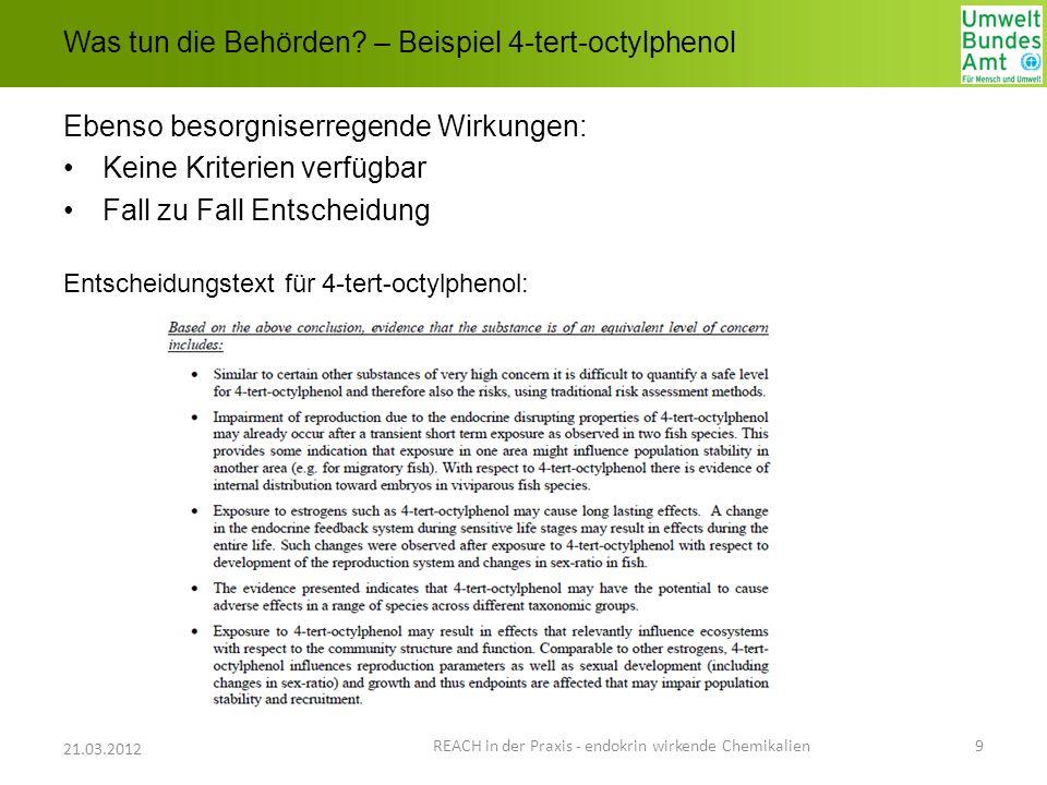 Was tun die Behörden? – Beispiel 4-tert-octylphenol Ebenso besorgniserregende Wirkungen: Keine Kriterien verfügbar Fall zu Fall Entscheidung Entscheid