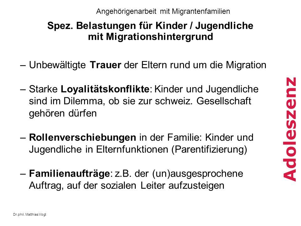 Dr.phil. Matthias Vogt Angehörigenarbeit mit Migrantenfamilien Adoleszenz Spez. Belastungen für Kinder / Jugendliche mit Migrationshintergrund –Unbewä