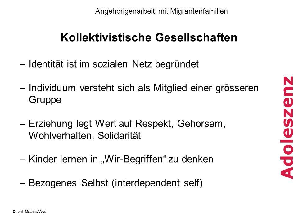 Dr.phil. Matthias Vogt Angehörigenarbeit mit Migrantenfamilien Adoleszenz Kollektivistische Gesellschaften –Identität ist im sozialen Netz begründet –