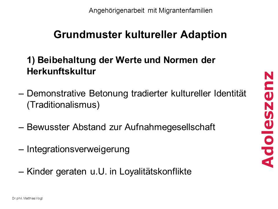 Dr.phil. Matthias Vogt Angehörigenarbeit mit Migrantenfamilien Adoleszenz Grundmuster kultureller Adaption 1) Beibehaltung der Werte und Normen der He