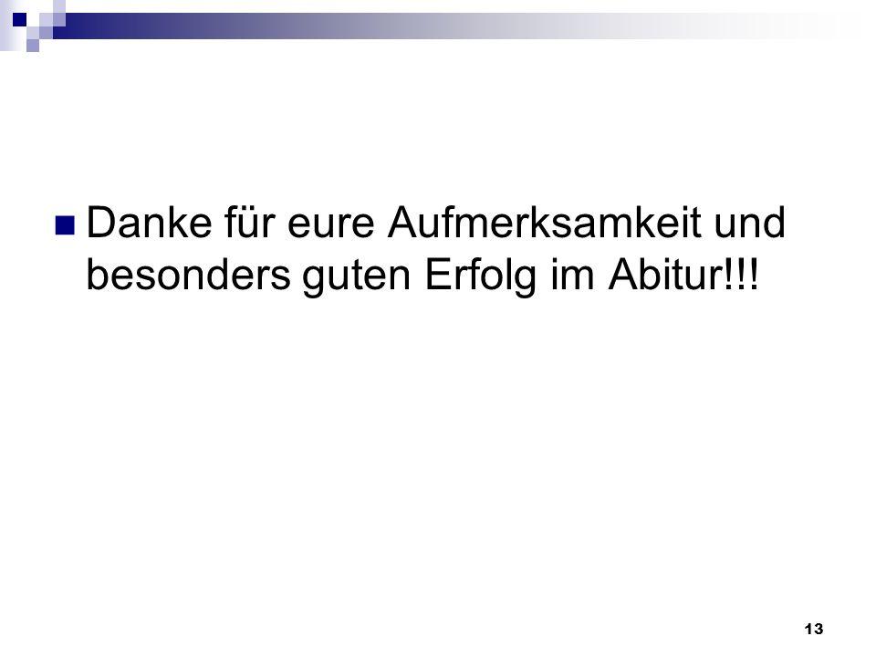 13 Danke für eure Aufmerksamkeit und besonders guten Erfolg im Abitur!!!