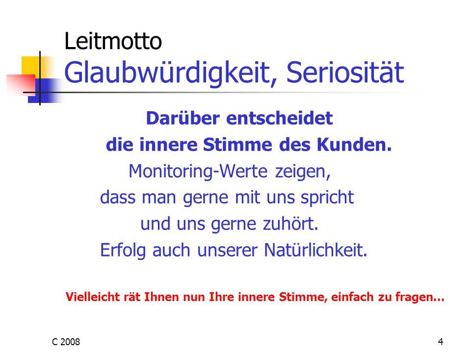 C 20084 Leitmotto Glaubwürdigkeit, Seriosität Darüber entscheidet die innere Stimme des Kunden. Monitoring-Werte zeigen, dass man gerne mit uns sprich