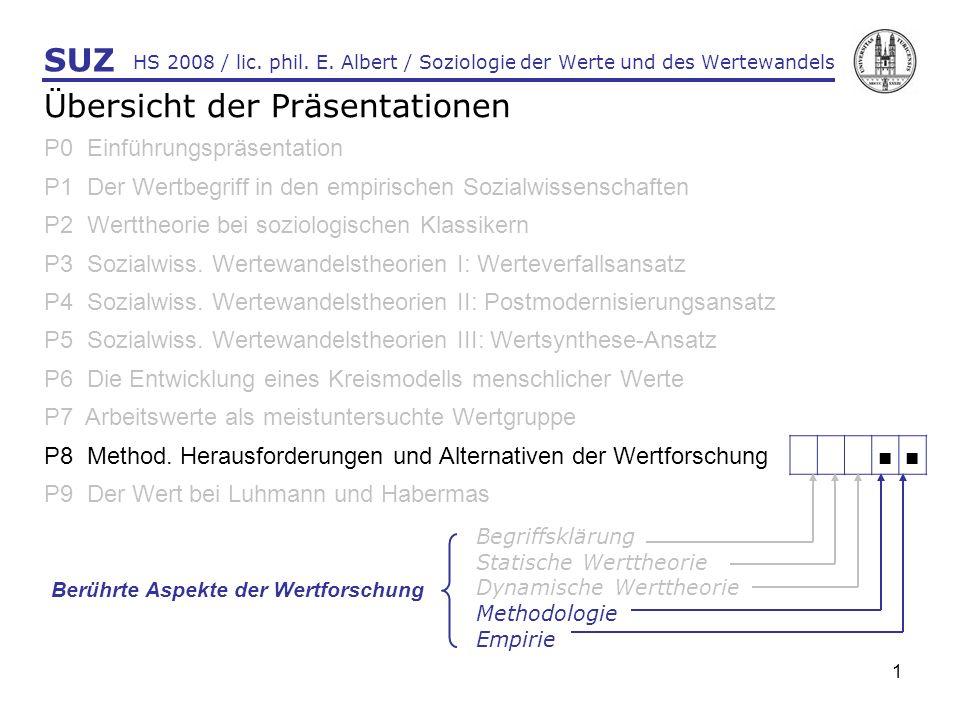 1 HS 2008 / lic. phil. E. Albert / Soziologie der Werte und des Wertewandels SUZ Übersicht der Präsentationen P0 Einführungspräsentation P1 Der Wertbe