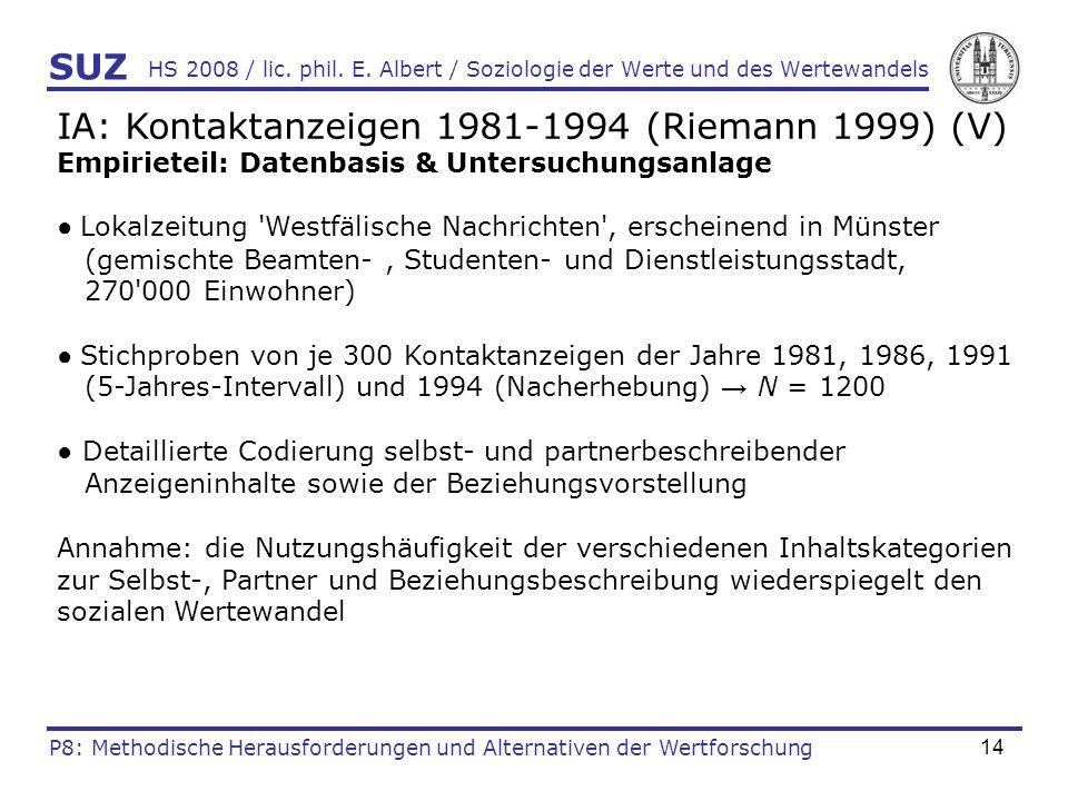 14 HS 2008 / lic. phil. E. Albert / Soziologie der Werte und des Wertewandels IA: Kontaktanzeigen 1981-1994 (Riemann 1999) (V) Empirieteil: Datenbasis