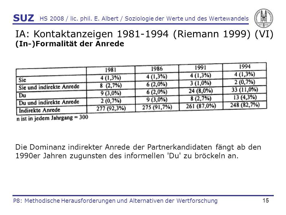 15 HS 2008 / lic. phil. E. Albert / Soziologie der Werte und des Wertewandels IA: Kontaktanzeigen 1981-1994 (Riemann 1999) (VI) (In-)Formalität der An