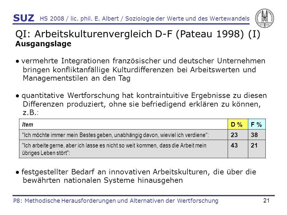 21 HS 2008 / lic. phil. E. Albert / Soziologie der Werte und des Wertewandels QI: Arbeitskulturenvergleich D-F (Pateau 1998) (I) Ausgangslage vermehrt