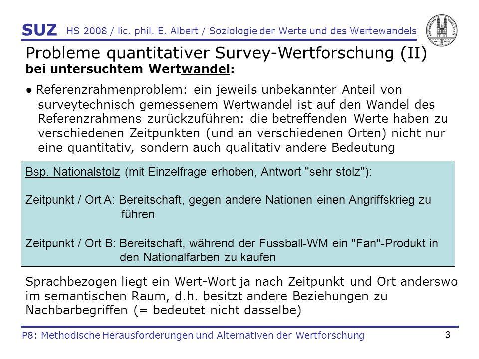 3 HS 2008 / lic. phil. E. Albert / Soziologie der Werte und des Wertewandels Probleme quantitativer Survey-Wertforschung (II) bei untersuchtem Wertwan