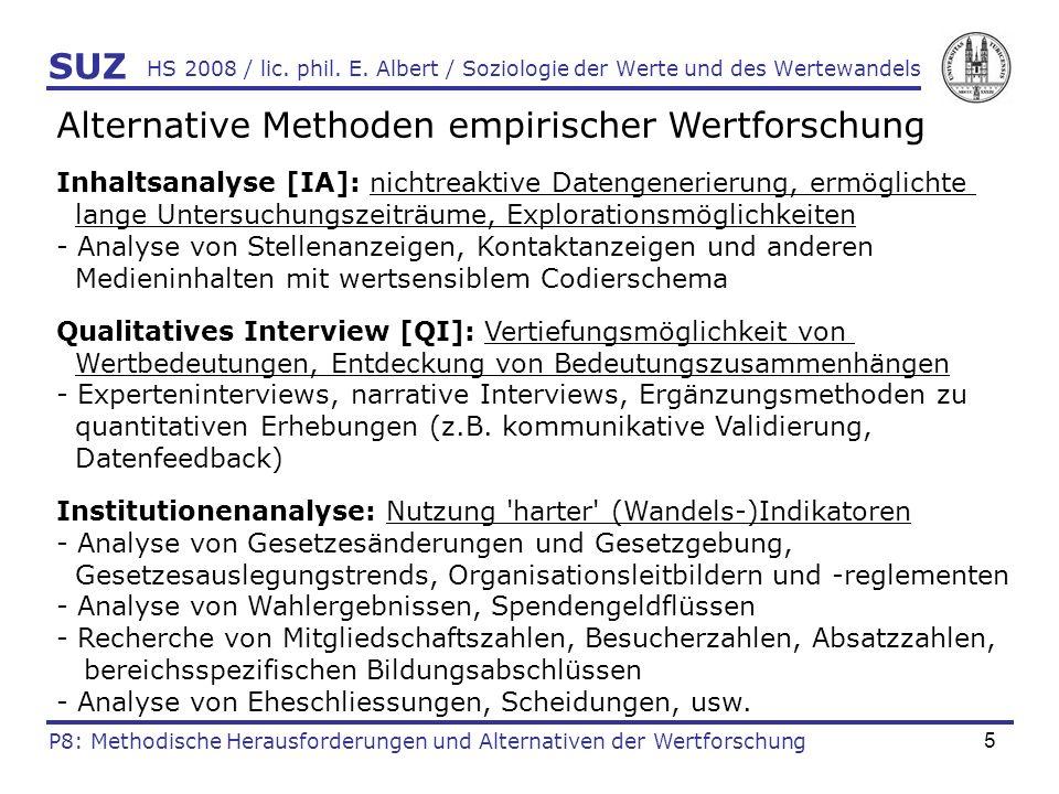 5 HS 2008 / lic. phil. E. Albert / Soziologie der Werte und des Wertewandels Alternative Methoden empirischer Wertforschung Inhaltsanalyse [IA]: nicht