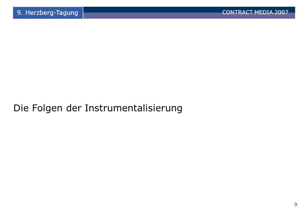 CONTRACT MEDIA 2007 9 9. Herzberg-Tagung Die Folgen der Instrumentalisierung