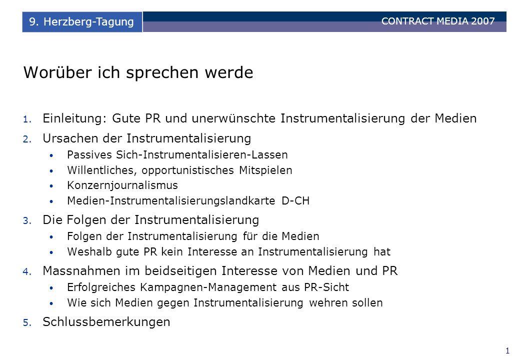 CONTRACT MEDIA 2007 12 9. Herzberg-Tagung Massnahmen im beidseitigen Interesse von Medien und PR