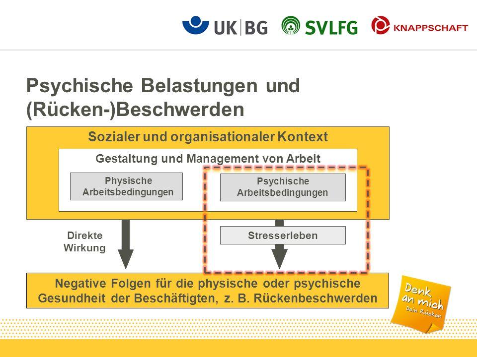Psychische Belastungen und (Rücken-)Beschwerden Sozialer und organisationaler Kontext Gestaltung und Management von Arbeit Psychische Arbeitsbedingung