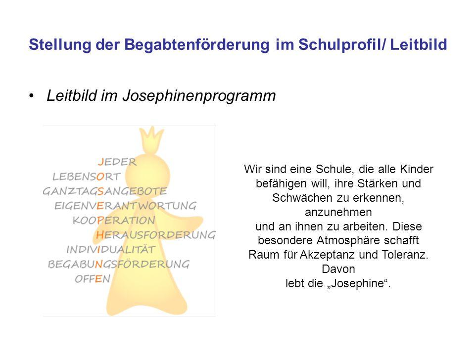 Stellung der Begabtenförderung im Schulprofil/ Leitbild Leitbild im Josephinenprogramm Wir sind eine Schule, die alle Kinder befähigen will, ihre Stär