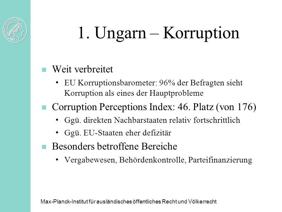 1. Ungarn – Korruption n Weit verbreitet EU Korruptionsbarometer: 96% der Befragten sieht Korruption als eines der Hauptprobleme n Corruption Percepti