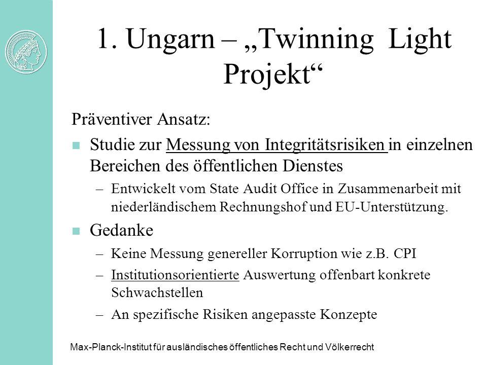 1. Ungarn – Twinning Light Projekt Präventiver Ansatz: n Studie zur Messung von Integritätsrisiken in einzelnen Bereichen des öffentlichen Dienstes –E