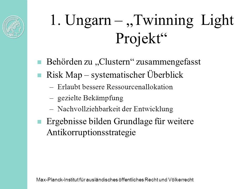 1. Ungarn – Twinning Light Projekt n Behörden zu Clustern zusammengefasst n Risk Map – systematischer Überblick –Erlaubt bessere Ressourcenallokation