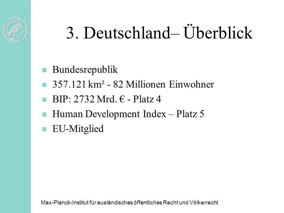 3. Deutschland– Überblick n Bundesrepublik n 357.121 km² - 82 Millionen Einwohner n BIP: 2732 Mrd. - Platz 4 n Human Development Index – Platz 5 n EU-
