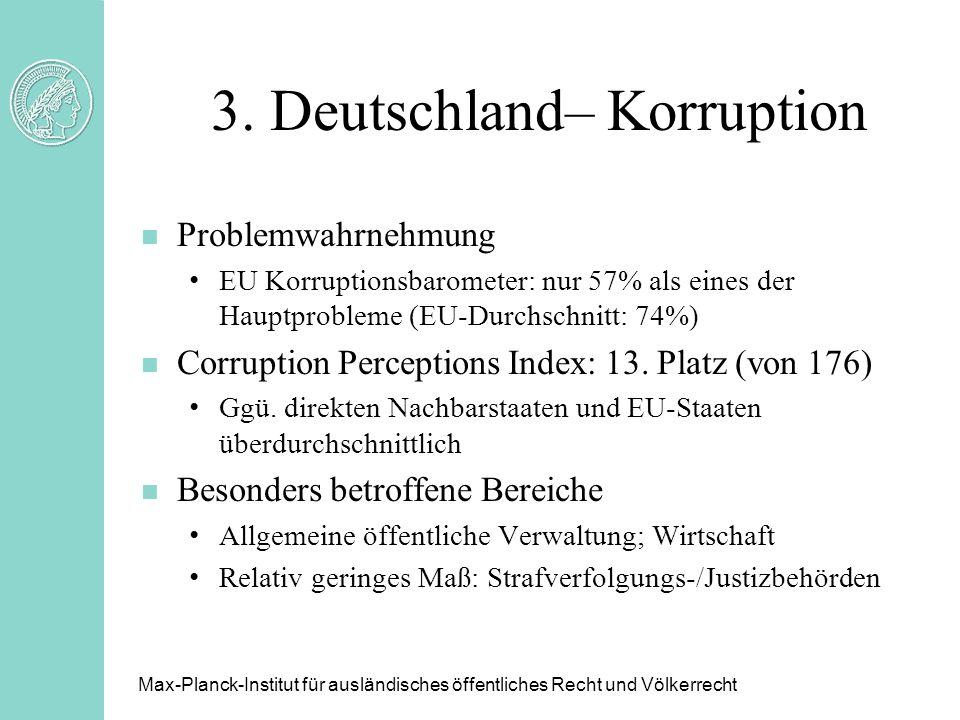 3. Deutschland– Korruption n Problemwahrnehmung EU Korruptionsbarometer: nur 57% als eines der Hauptprobleme (EU-Durchschnitt: 74%) n Corruption Perce