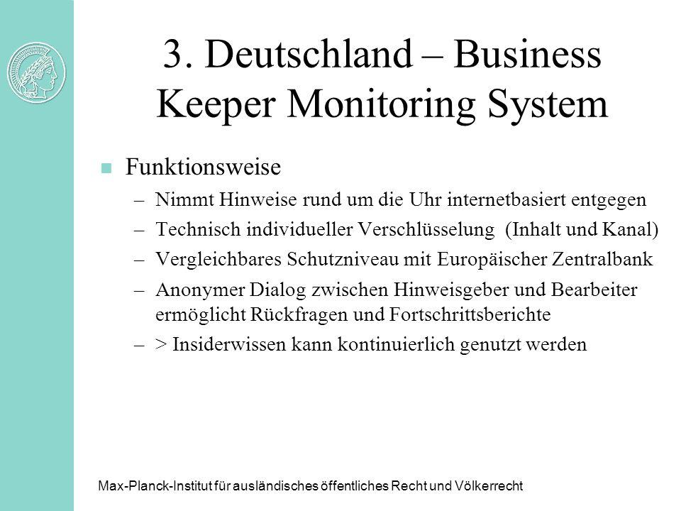 3. Deutschland – Business Keeper Monitoring System n Funktionsweise –Nimmt Hinweise rund um die Uhr internetbasiert entgegen –Technisch individueller