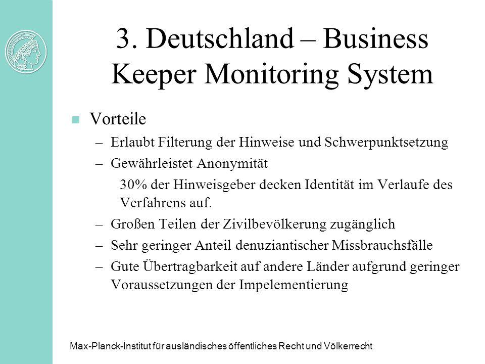 3. Deutschland – Business Keeper Monitoring System n Vorteile –Erlaubt Filterung der Hinweise und Schwerpunktsetzung –Gewährleistet Anonymität 30% der