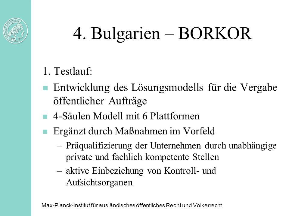 4. Bulgarien – BORKOR 1. Testlauf: n Entwicklung des Lösungsmodells für die Vergabe öffentlicher Aufträge n 4-Säulen Modell mit 6 Plattformen n Ergänz